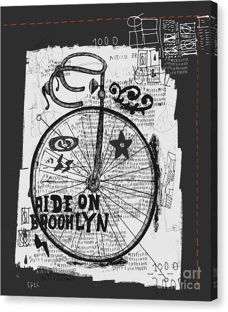 Cyclist Canvas Print - Symbolic Image Of Sports Bike Graffiti by Dmitriip
