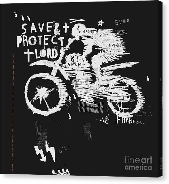 Biker Canvas Print - Symbolic Image Of The Bike For Motocross by Dmitriip