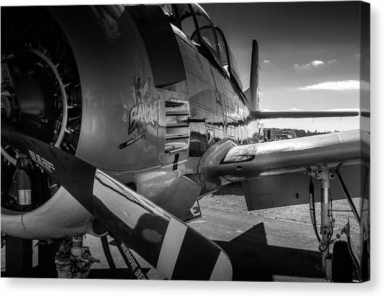 Canvas Print featuring the photograph T-28b Trojan In Bw by Doug Camara