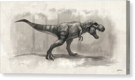 T-rex Drawing Canvas Print by Steve Goad
