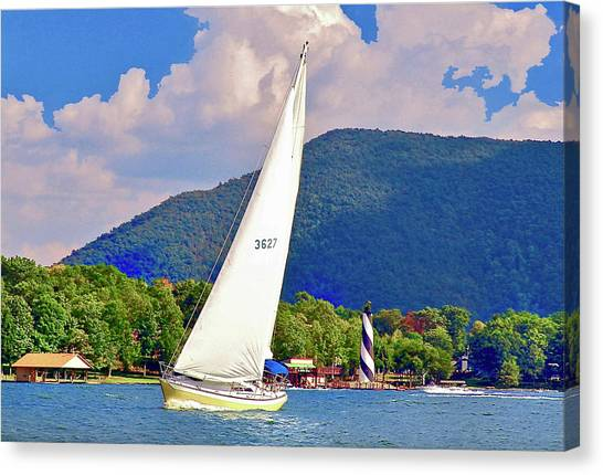 Tacking Lighthouse Sailor, Smith Mountain Lake Canvas Print