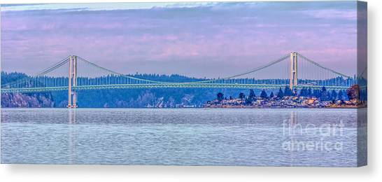 Tacoma Narrows Bridge Landscape Canvas Print by Jean OKeeffe Macro Abundance Art
