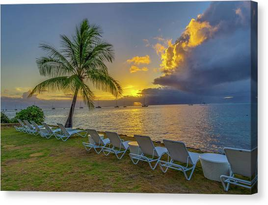 Snorkling Canvas Print - Tahiti Sunset by Scott McGuire