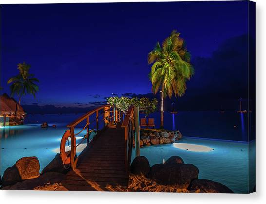 Snorkling Canvas Print - Tahitian Nightscape by Scott McGuire