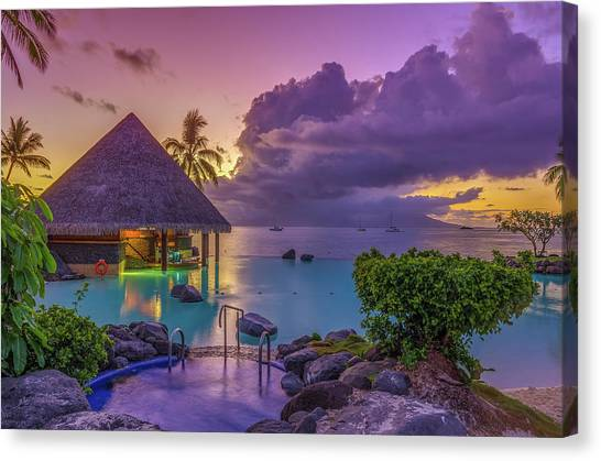 Snorkling Canvas Print - Tahitian Sunset by Scott McGuire