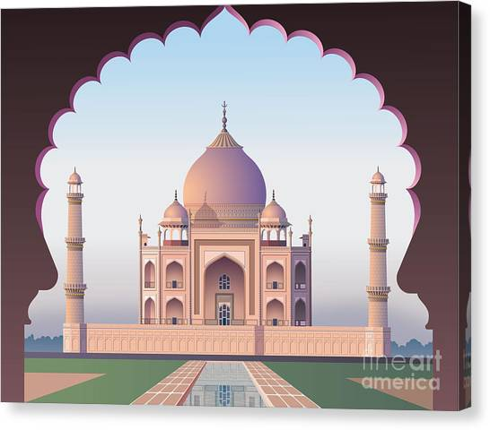 Famous Places Canvas Print - Taj Mahal Through The Window by Nikola Knezevic