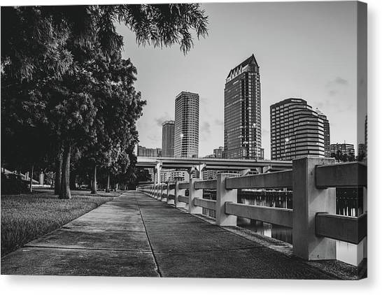 Tampa Florida Riverwalk View In Monochrome Canvas Print by Gregory Ballos