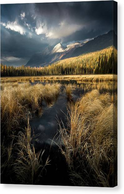 Canvas Print featuring the photograph Tapering Rains / Whitefish, Montana  by Nicholas Parker