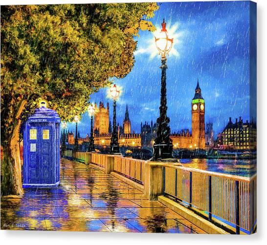 Tardis Canvas Print - Tardis In The Rain - London by Mark Tisdale