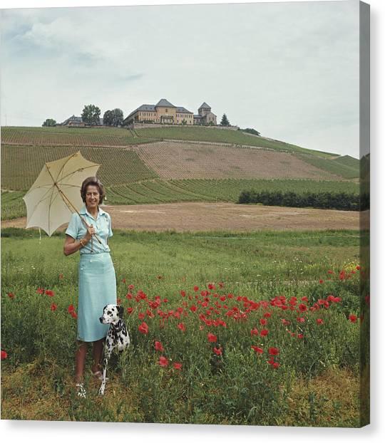 Tatiana On The Rhine Canvas Print by Slim Aarons