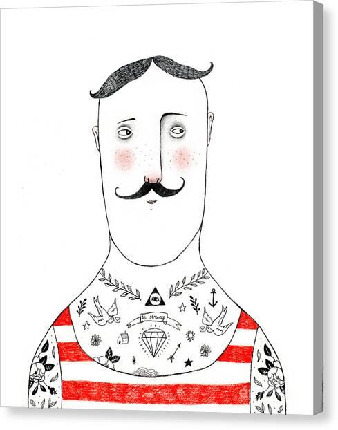 Exercising Canvas Print - Tattoed Man Pencil Drawing by Lenaer