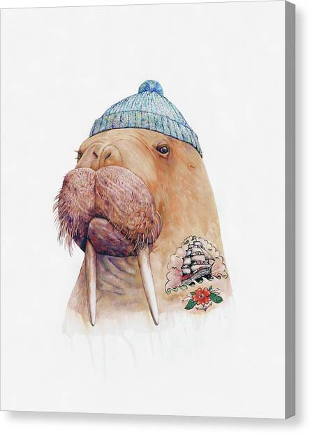 Whimsical Canvas Print - Tattooed Walrus by Animal Crew
