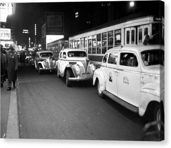 Taxis Outside Times Square Theaters At Canvas Print