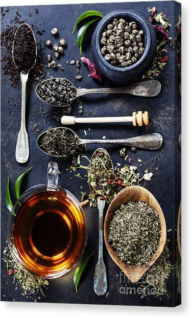 China Canvas Print - Tea Composition With Different Kind Of by Natalia Klenova
