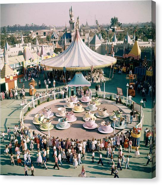 Teacups At Disneyland Canvas Print by Loomis Dean