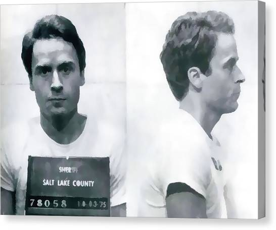 Ted Bundy Canvas Print - Ted Bundy Mug Shot by Dan Sproul