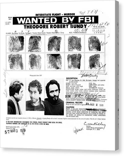 Ted Bundy Canvas Print - Ted Bundy - Wanted By The Fbi by Doc Braham