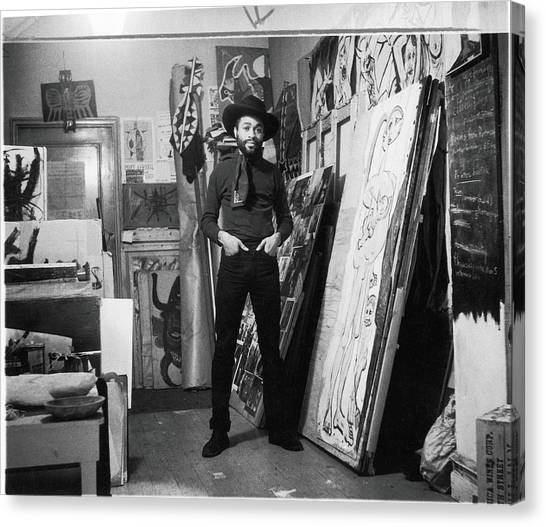 Ted Joans In His Loft Canvas Print by Fred W. McDarrah