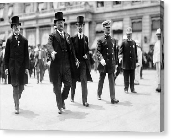 Theodore Roosevelt Canvas Print - Teddy Roosevelt, Mayor Gaynor, Cornelius Vanderbilt - Nyc - 1910 by War Is Hell Store