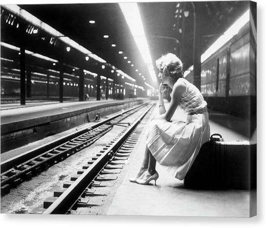 Teenage Girl Waiting For Train Canvas Print