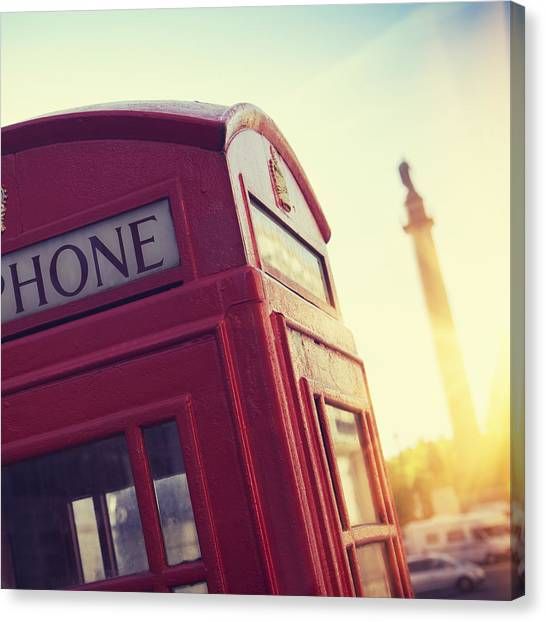 Telephone Booth On London Street At Canvas Print