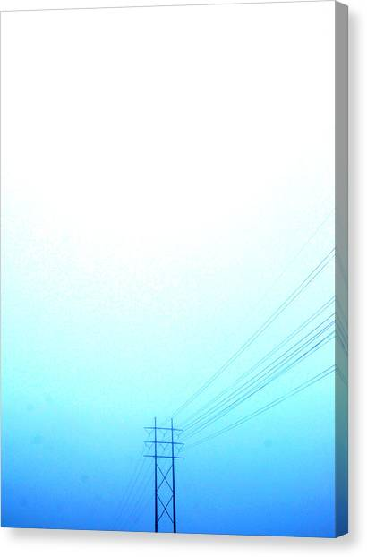 Telephone Wires In A Foggy Turquoise Sky Canvas Print