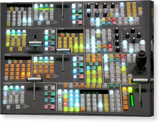 Keypad Canvas Print - Television Broadcast Control Room by Greg Pease