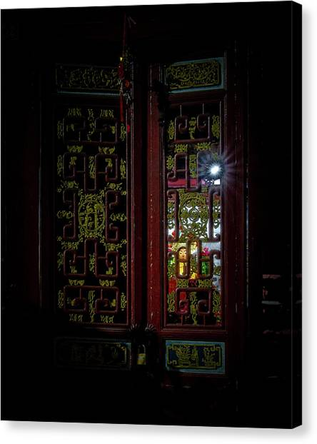 Canvas Print featuring the photograph Temple Doorway On Old West Street by William Dickman
