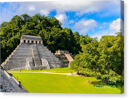 Mexico Canvas Print - Temple Of The Inscriptions, Palenque by Anton ivanov