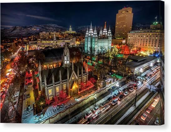 Temple Square Lights Canvas Print