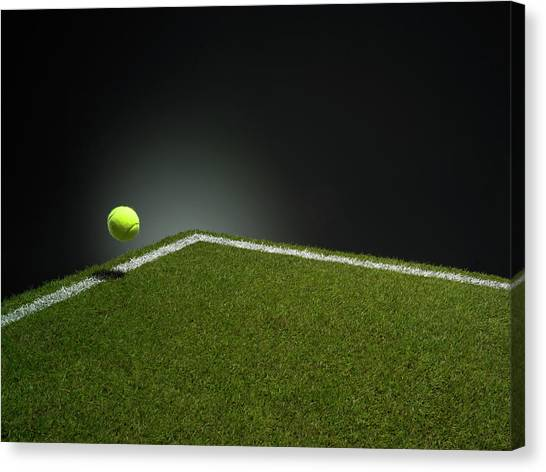 Tennis Ball At Edge Of Court Canvas Print