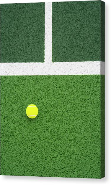 Tennis Ball On Court Canvas Print