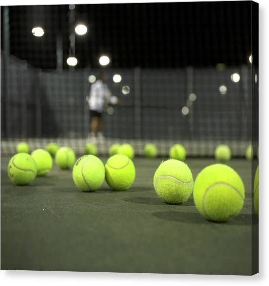 Tennis Balls On Court Canvas Print