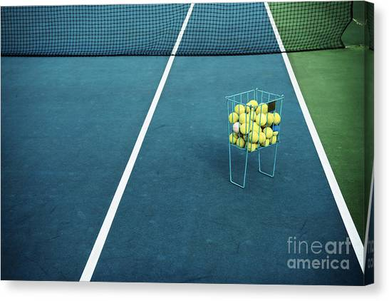 Basket Canvas Print - Tennis Court With Tennis Balls In by Optimarc
