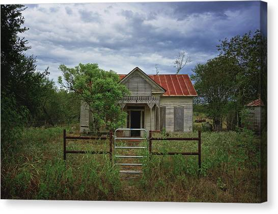 Texas Farmhouse In Storm Clouds Canvas Print
