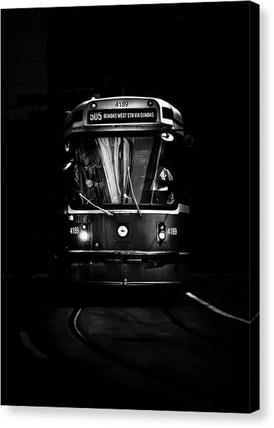 Canvas Print featuring the photograph The 505 Dundas Streetcar Toronto Canada by Brian Carson