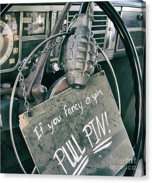 The Art Of Pulling Pins Canvas Print by Steven Digman