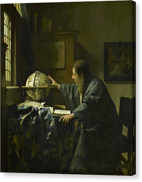 Celestial Globe Canvas Print - The Astronomer, 1668 by Jan Vermeer