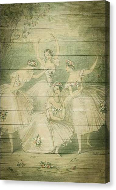 The Ballet Dancers Shabby Chic Vintage Style Portrait Canvas Print