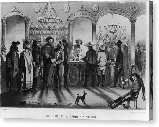 The Bar Of A Gambling Saloon Canvas Print by Fotosearch