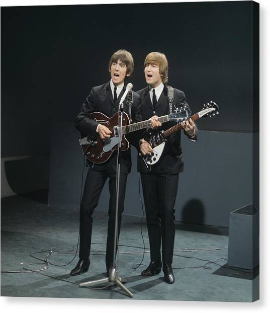 The Beatles Perform On Shindig Canvas Print by David Redfern