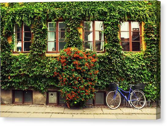 Urban Life Canvas Print - The Bicycle In Copenhagen by Oleg Podzorov