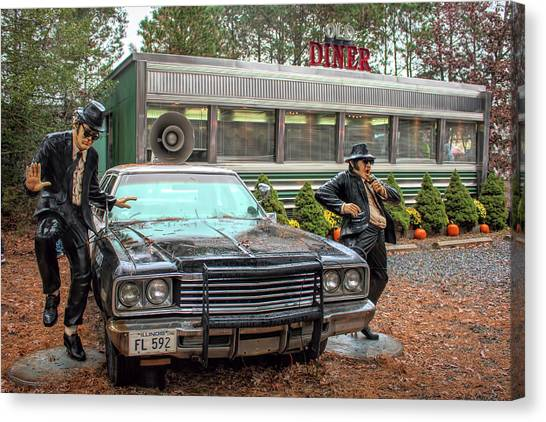 Canvas Print featuring the photograph The Blues Brothers At A Diner by Kristia Adams