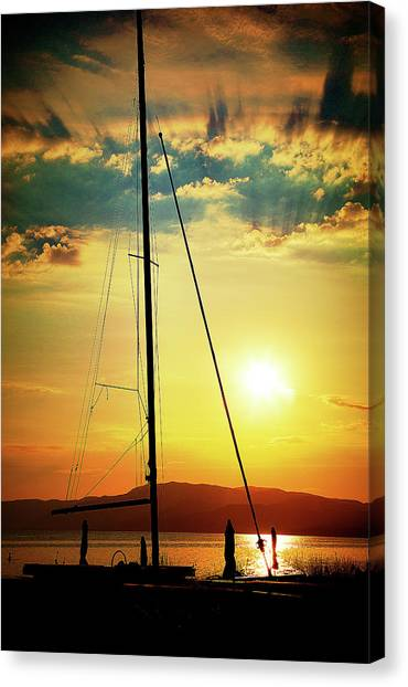 Canvas Print featuring the photograph the Boat and the Sky by Milena Ilieva