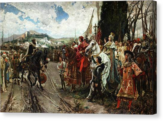 Emir Canvas Print - The Capitulation Of Granada, 1882 Showing Muhammad Xii Confronting Ferdinand And Isabella, 1882 by Francisco Pradilla Ortiz