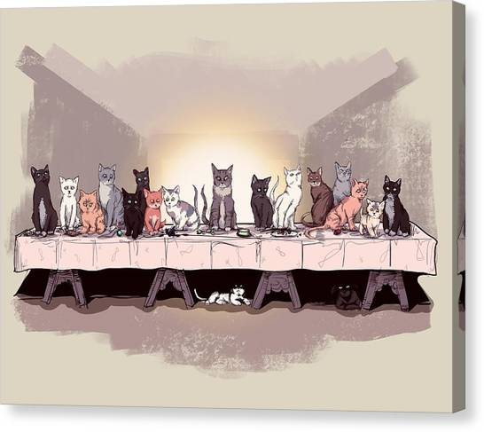 Last Canvas Print - The Cat Supper by Ludwig Van Bacon