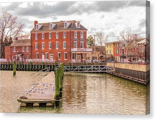 Canvas Print featuring the photograph The Central Hotel - Delaware City by Kristia Adams