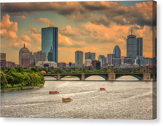 The Charles, Duck Boats And Boston's Back Bay Canvas Print