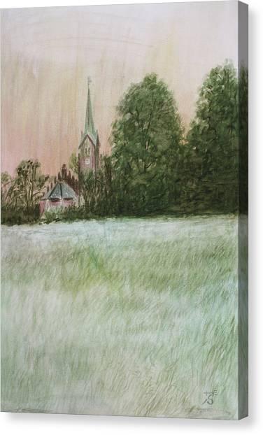 Church Yard Canvas Print - The Church In The Fields by Hans Egil Saele
