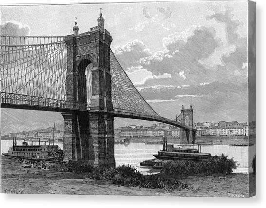 The Cincinnati Bridge Canvas Print by Kean Collection